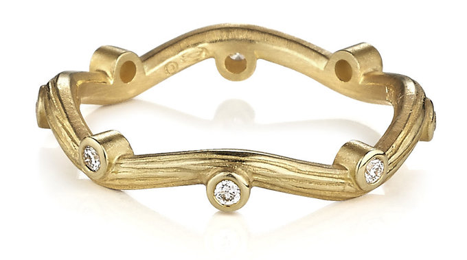 Serpentine Ring in Gold with Diamonds & Branch Texture