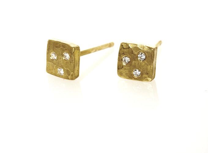 Gold Diamond Nugget Earrings