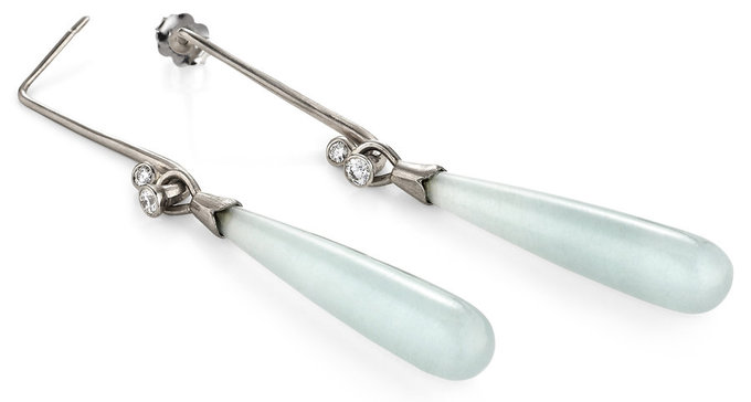aquamarine drop earrings with diamond driftwood attachment