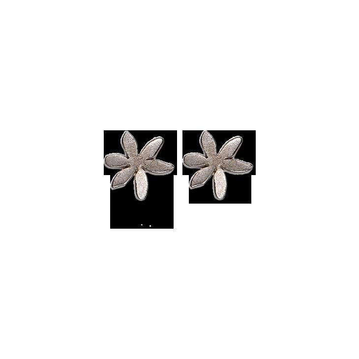 Flat Flower Silver Medium Earrings