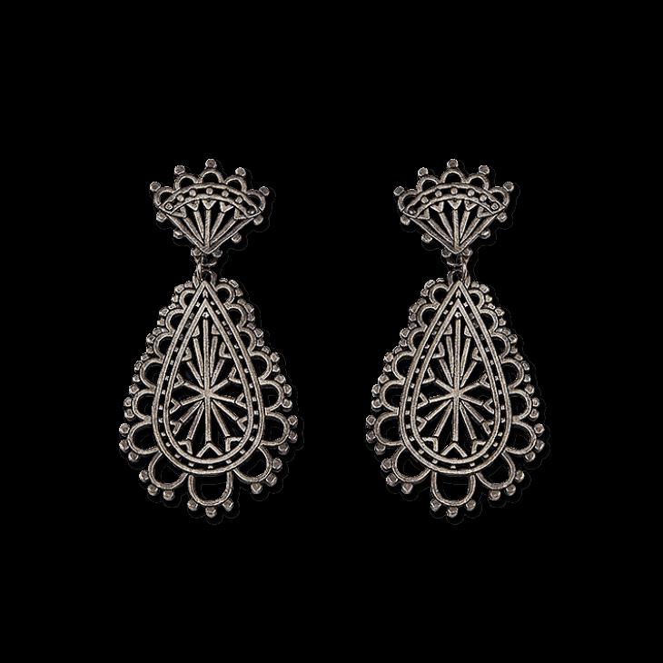 Madeline Fan Teardrop Earrings (Patina)