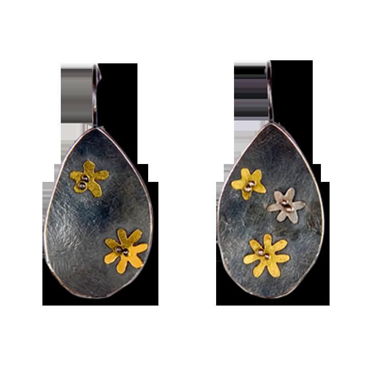 Buttercup Teardrop Hook Medium Earrings (Patina)