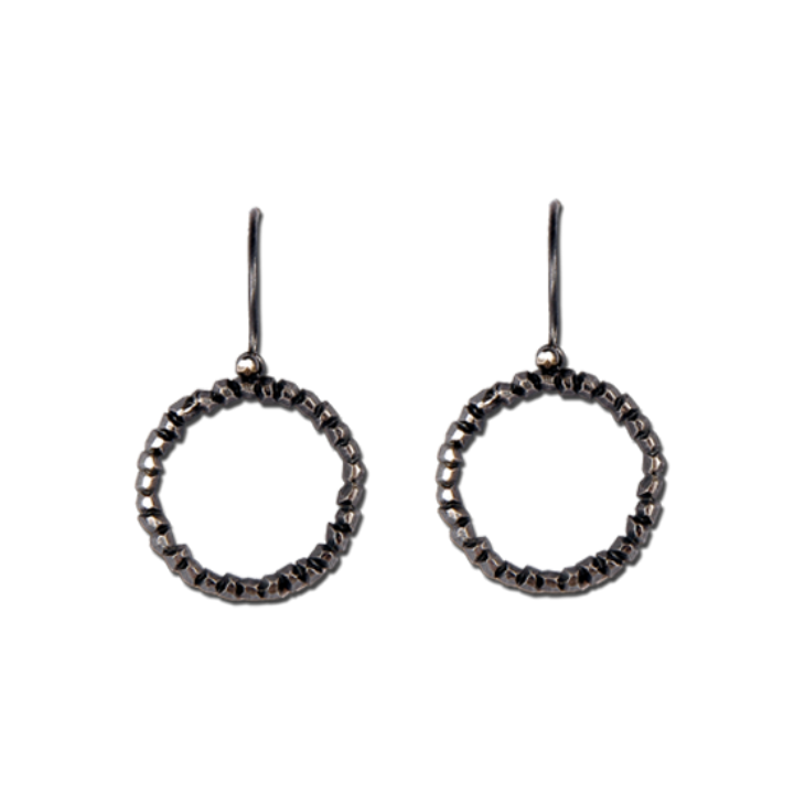 Victoria Round Outline Hook Earrings (Patina)