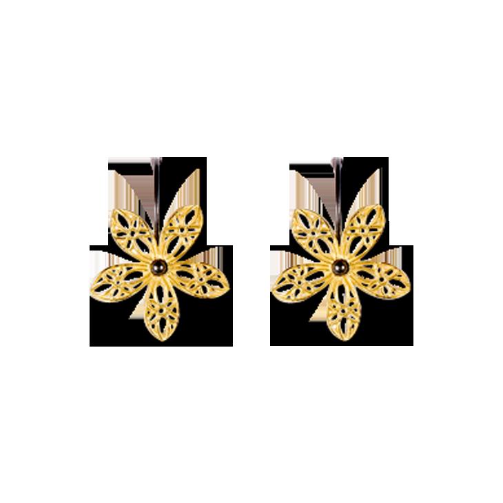 Lace Flower Gold Hook Earrings