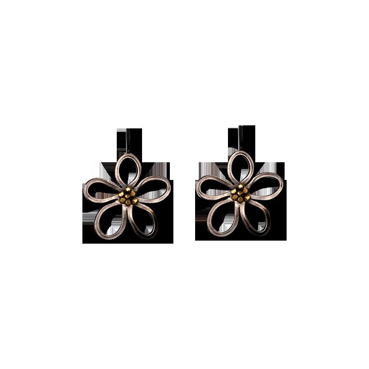 Limned Flower Silver Small Hook Earrings