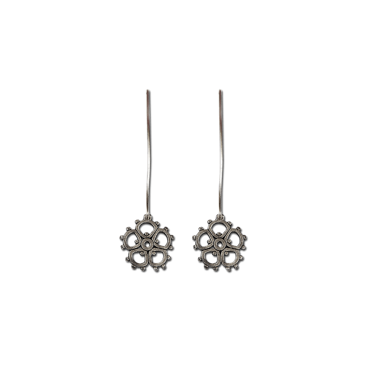madeline small flower swing hook earrings (patina)