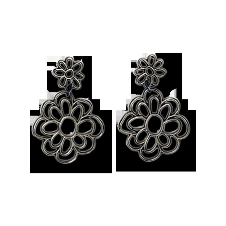 Kellie Flower Medium Drop Earrings (Patina)