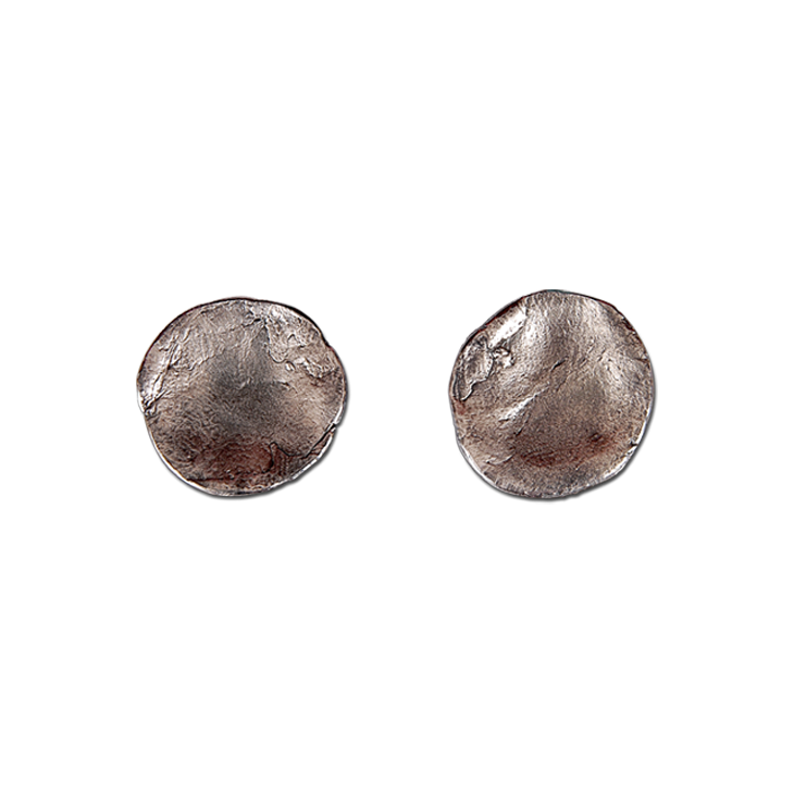 Parchment large stud earrings (patina)