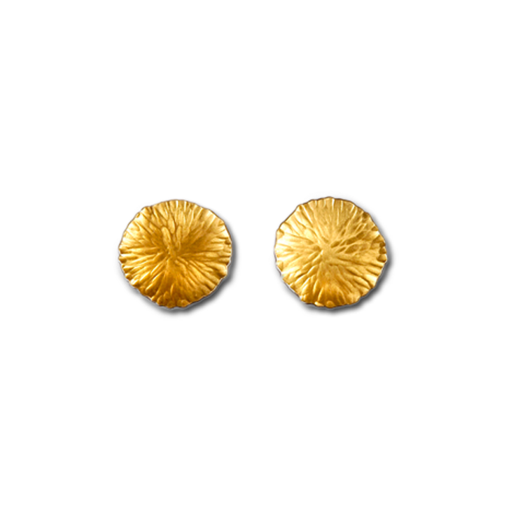 Peacock medium gold (bi) stud earrings