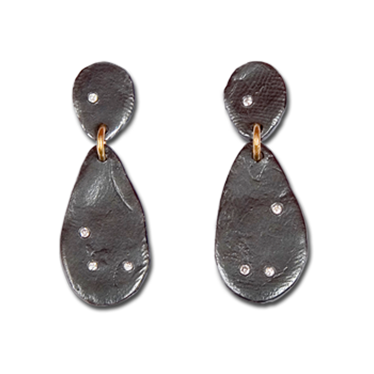 Parchment small diamond teardrop earrings patina