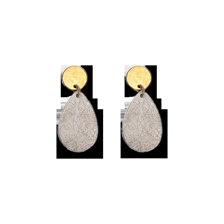 Flat Paper Silver Teardrop Earrings