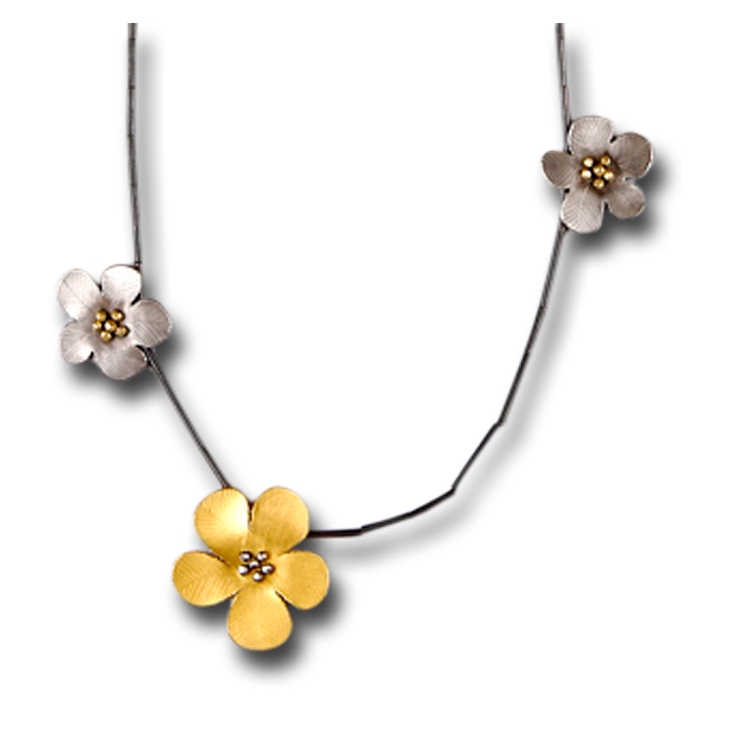 Daniel Flower 3 Flower (2 Silver, 1 Gold) Necklace