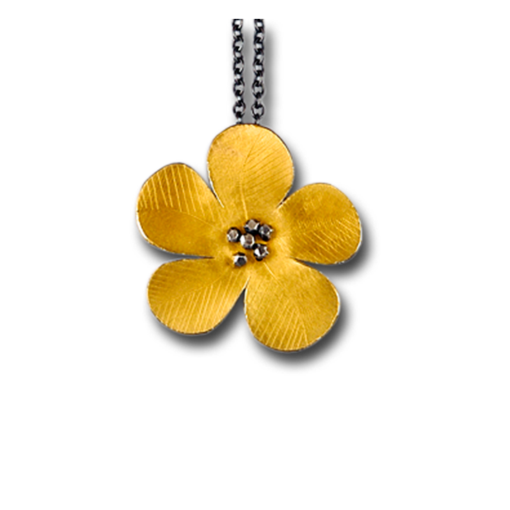 Daniel flower gold pendant necklace
