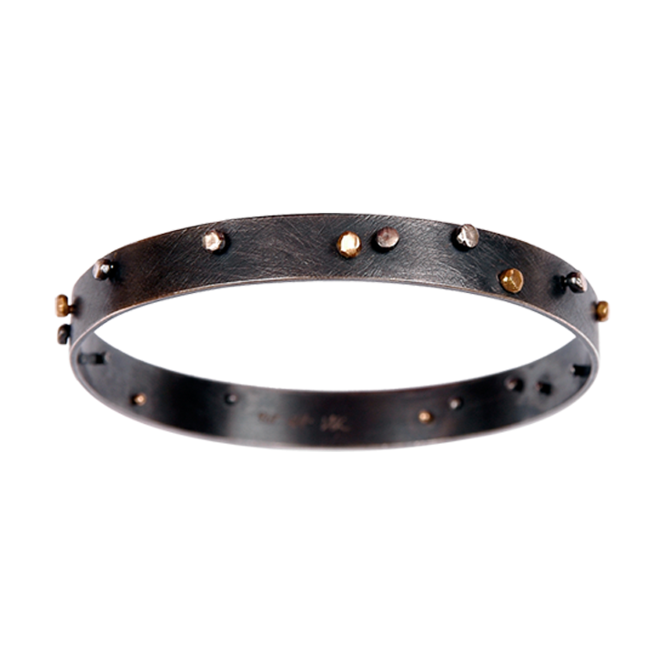 Jude wide gold-silver bangle