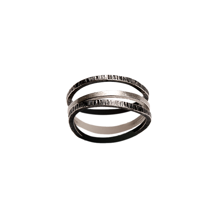 Water 3-stack irregular silver ring