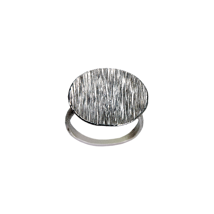 Water Large Silver Ring (Patina)