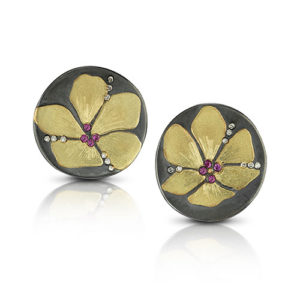 orchid disc earrings, 18ky, diamonds and pink sapphires