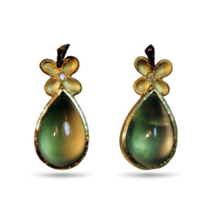 prehnite pear blossom earrings