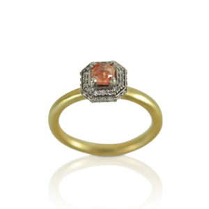 Peach Diamond Engagement Halo Ring
