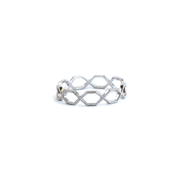 Beaded hexagon eternity ring