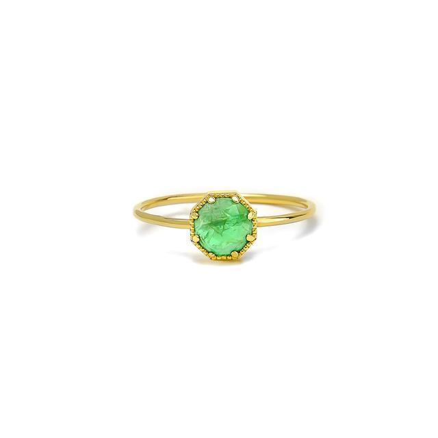 crown bezel emerald ring