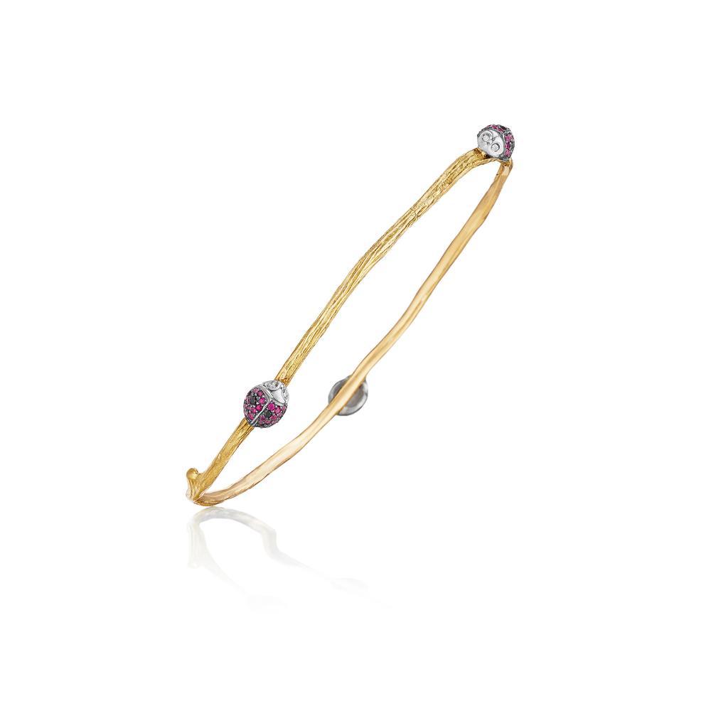 wonderland diamond and ruby lady bug twig bangle bracelet