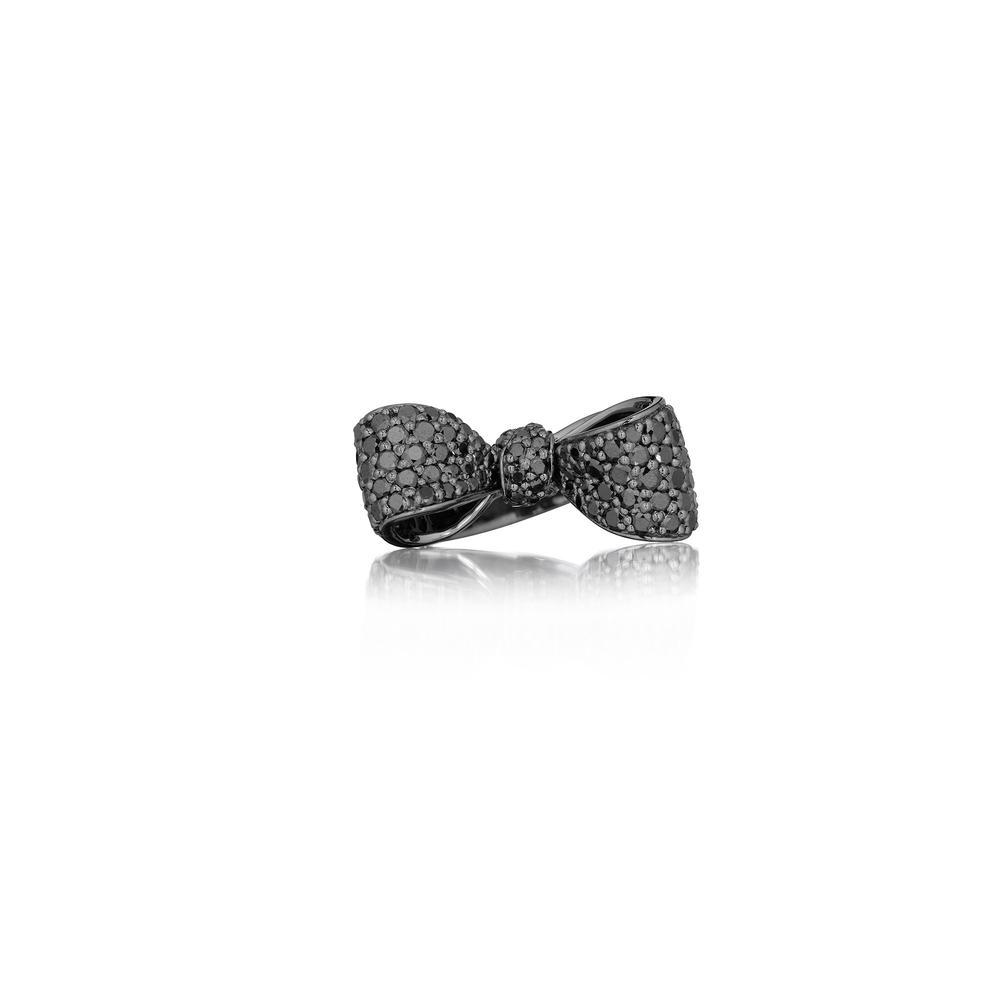 bow black pavé diamond ring (small)