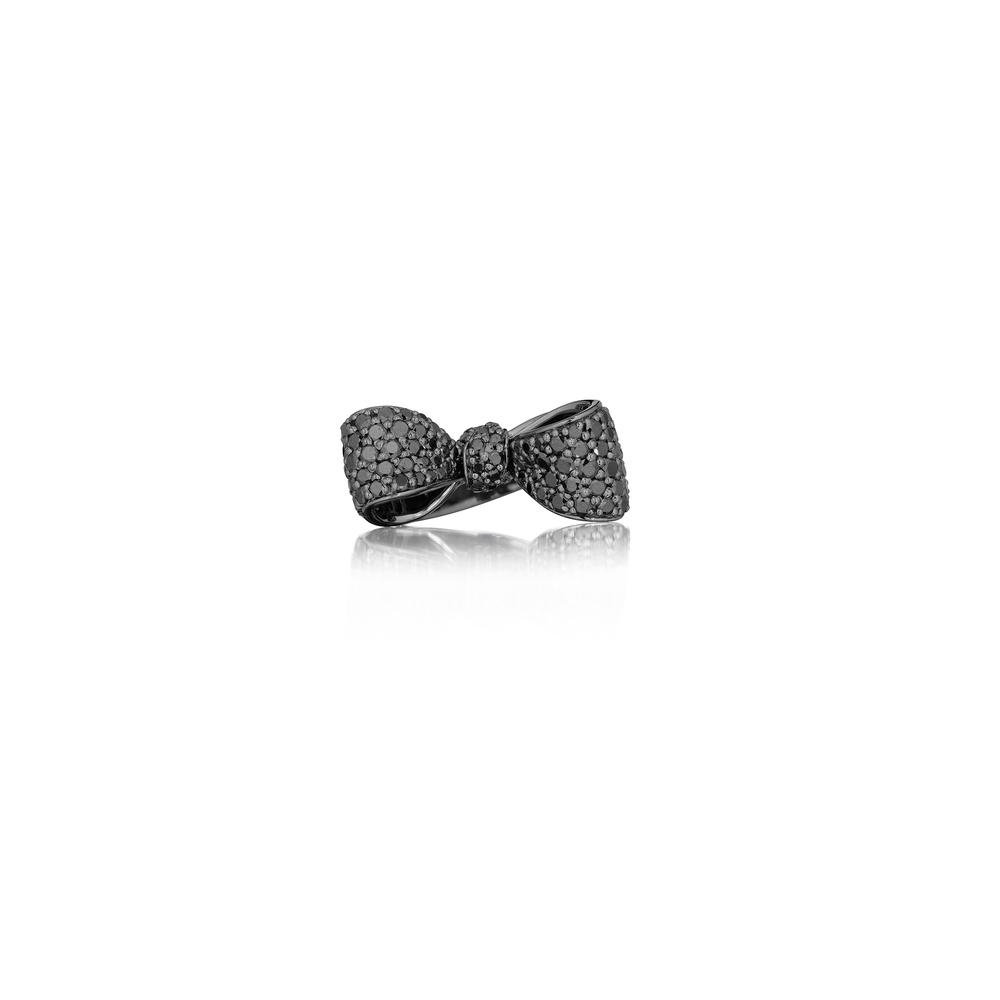 Bow Black Diamond Ring (Petite)