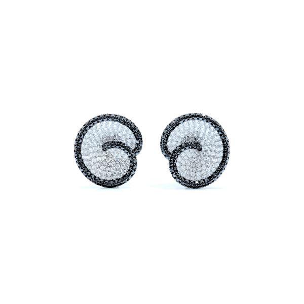 white, black diamond swirl earrings