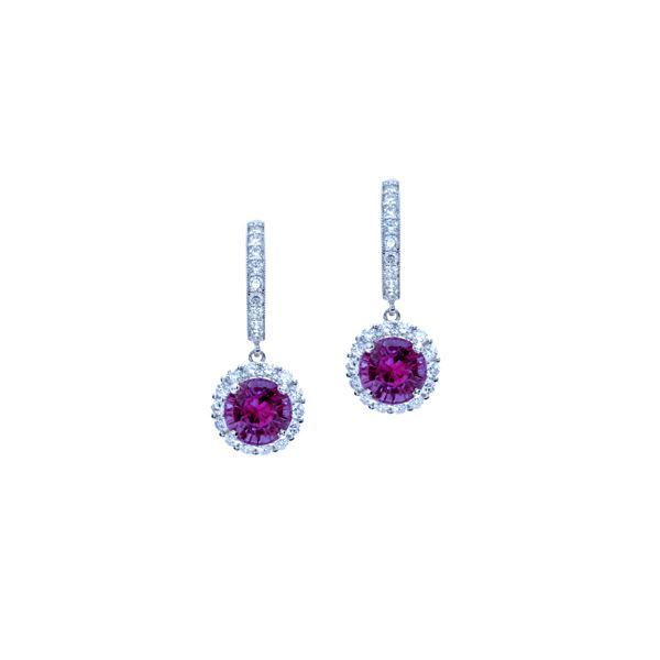 round amethyst and diamond drop earrings