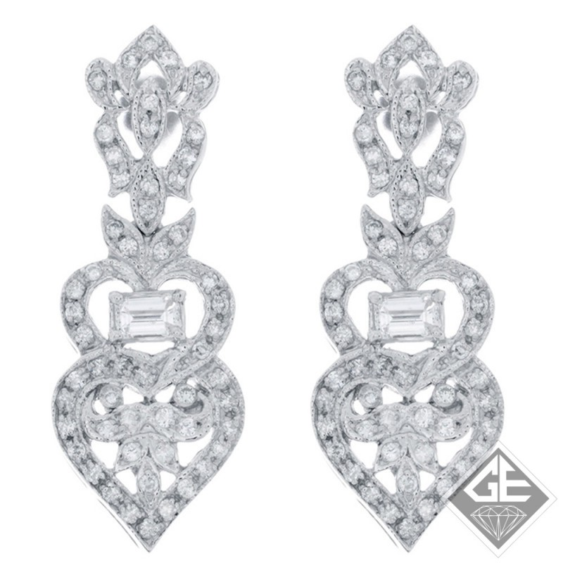 14k White Gold Ladies Diamond Heart Design Dangling Earrings