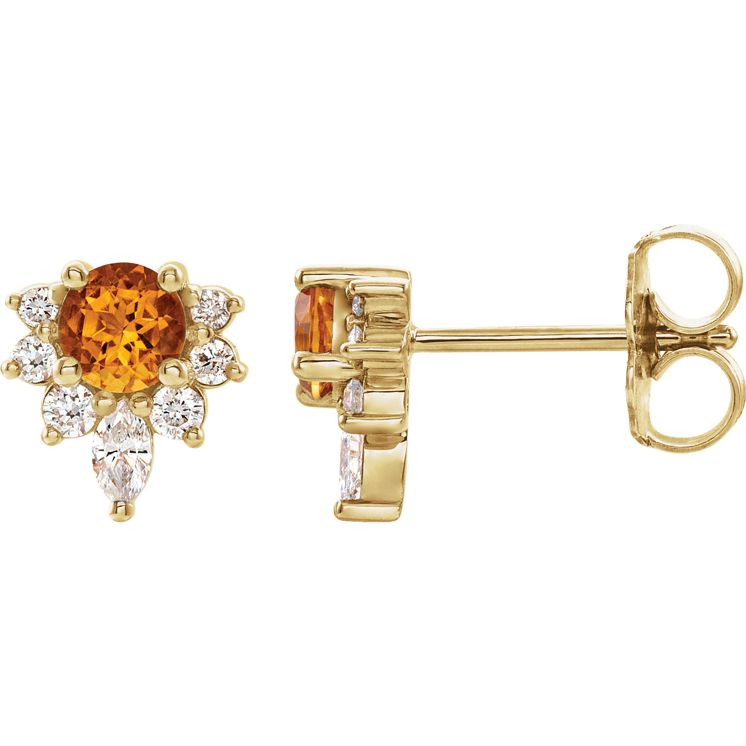 14k yellow genuine citrine and 1/6 ctw diamond earings