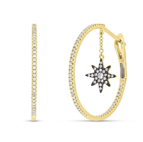 Windy city signature yellow gold diamond pave moon & star necklace