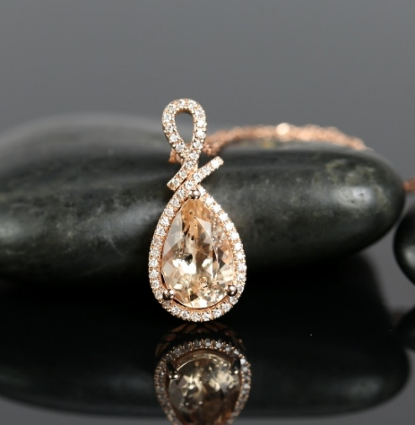 Ready to ship 14kt rose gold pear 11x7mm morganite and diamond halo pendant necklace