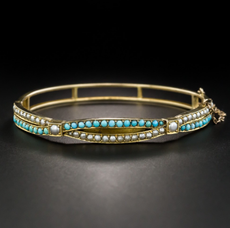 Victorian turquoise and seed pearl bangle bracelet
