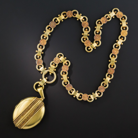 Victorian etruscan revival locket necklace