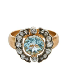 Antique 14k diamond & aquamarine