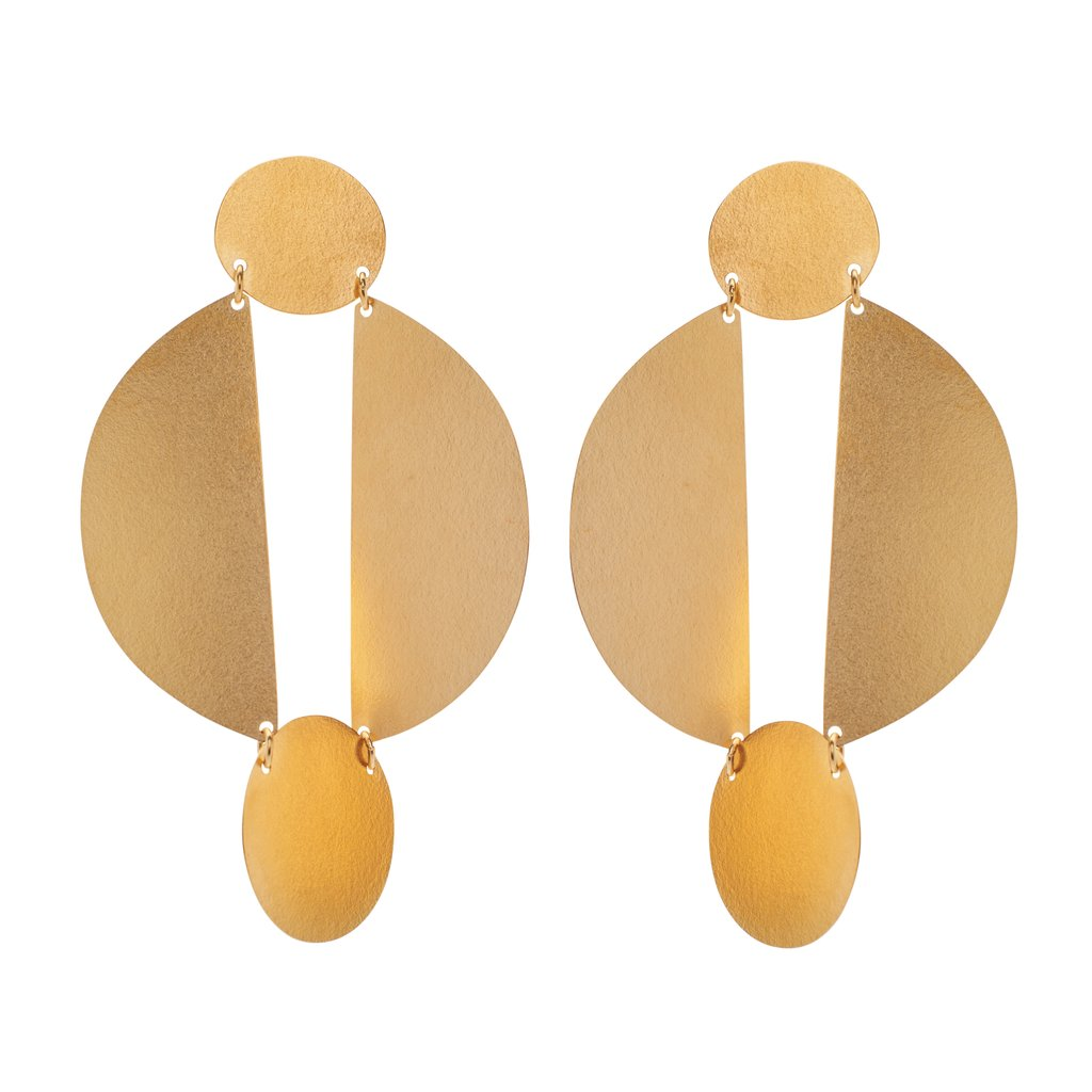 annie costello brown split circle earrings gold brass
