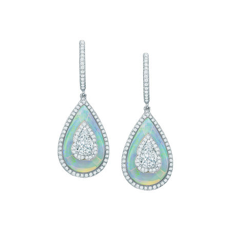 saboo 18kt white gold, opal & diamond drop earrings
