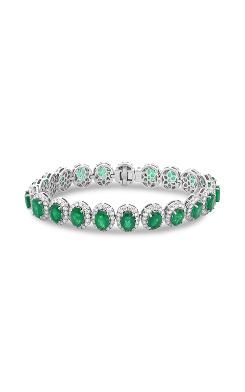 roman and jules oval emerald & diamond halo bracelet mb615-12