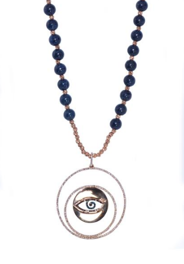 Anatol evil eye diamond and blue sapphire necklace