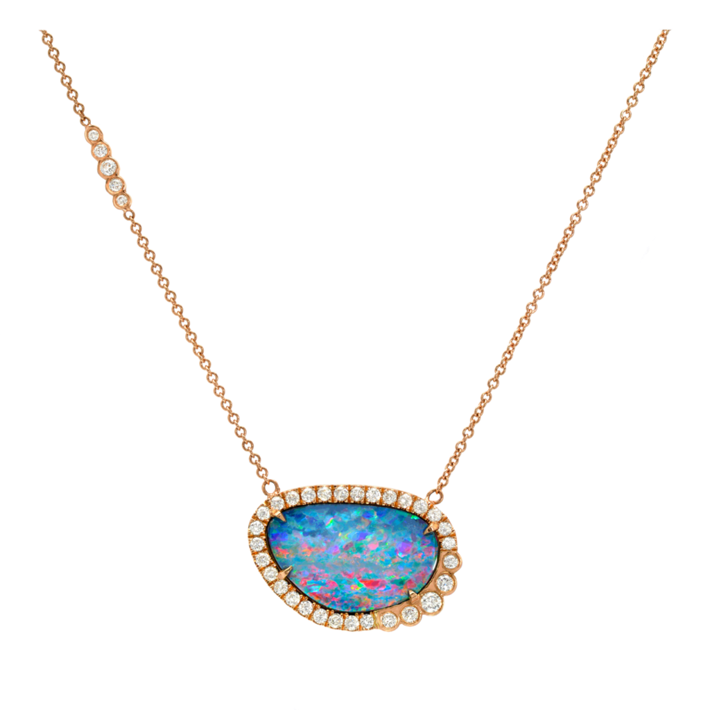 Australian opal diamond necklace