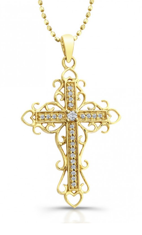 14k yellow vintage gold diamond cross pendant