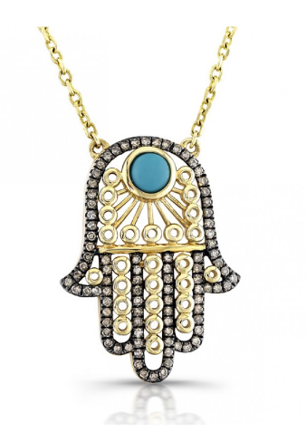 14k yellow gold hamsa with brown diamonds & turquoise necklace