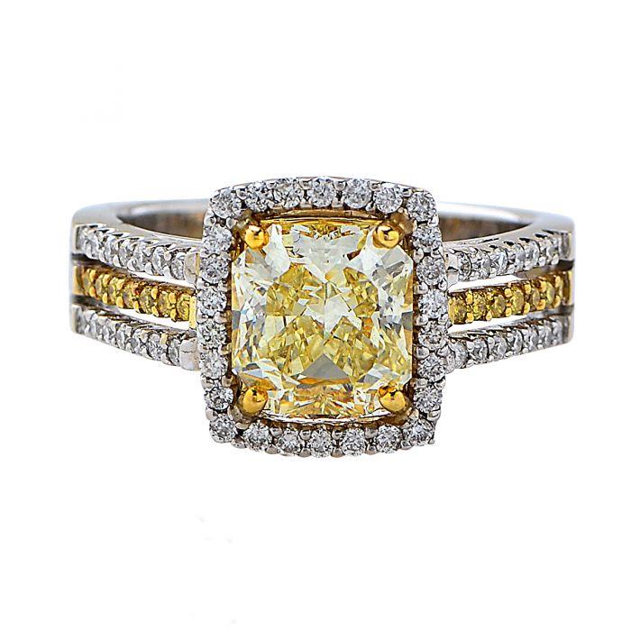 dazzling 2.03 ct. gia graded natural color diamond ring -v5940