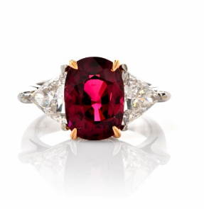 8.22ct ruby diamond platinum three stone ring