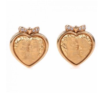 Carrera y carrera romeo juliet heart diamond gold earrings