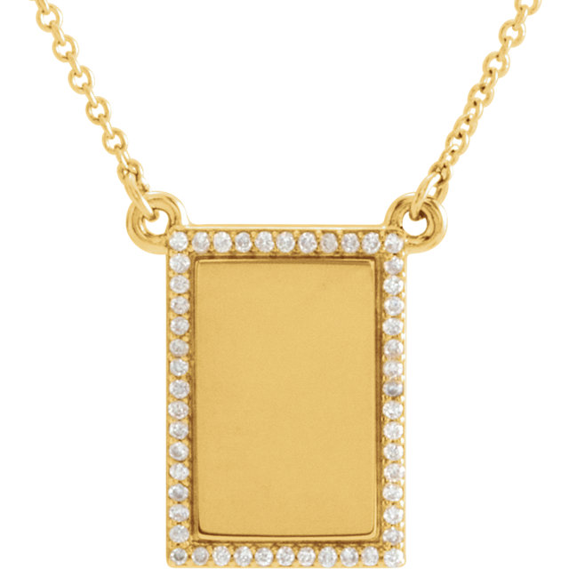 14k yellow 1/8 ctw diamond engravable bar 18