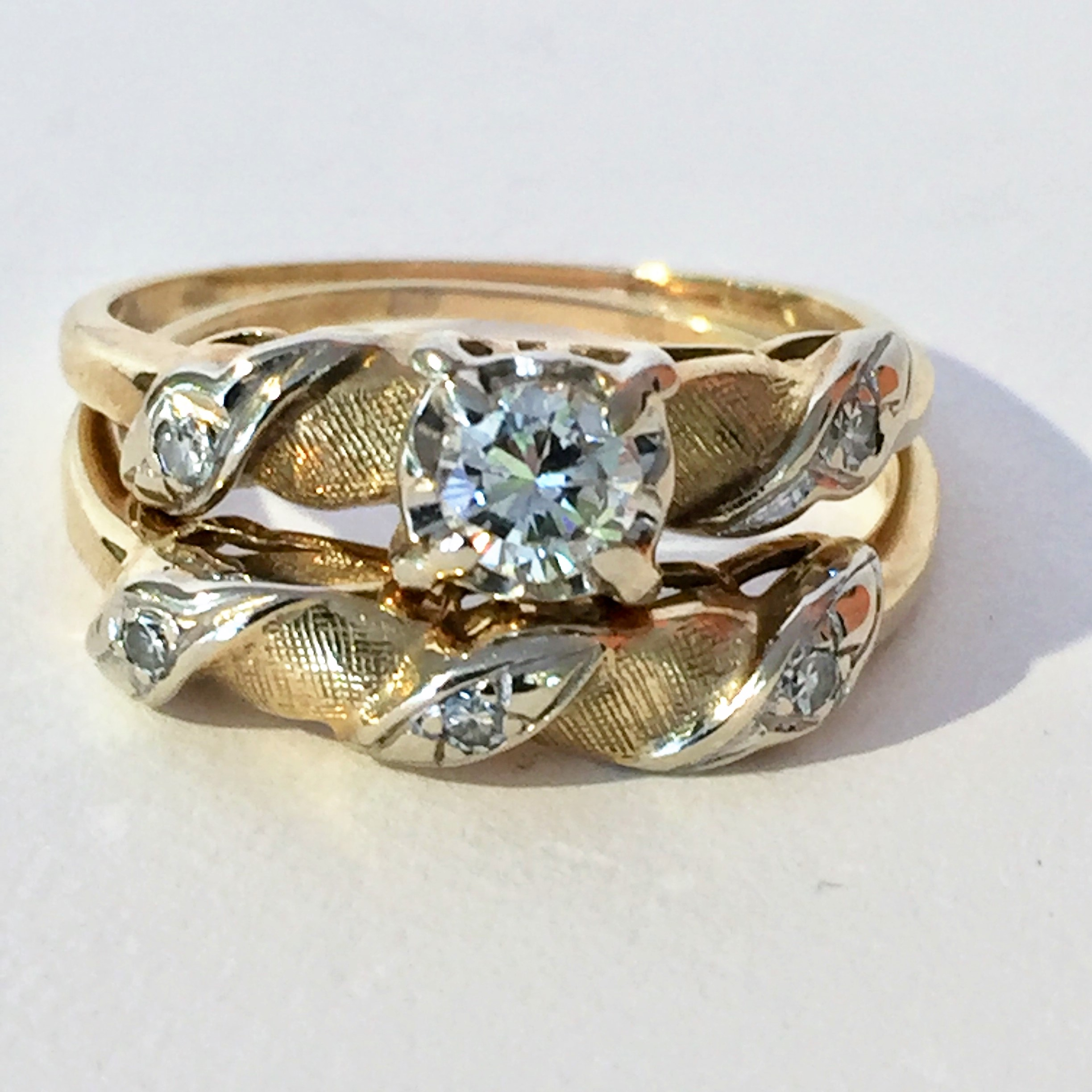 14kt y/g and diamond wedding set