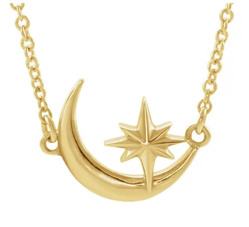 14k yellow gold moon & star necklace